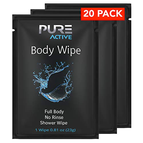 Shower Body Wipes, 20 Individually Wrapped Personal Hygiene Body Cleansing Wipes for Women and Men, Keep Clean After Gym Travel Camping Outdoors Sports (20 Count) (Fresh, 20 Pack)