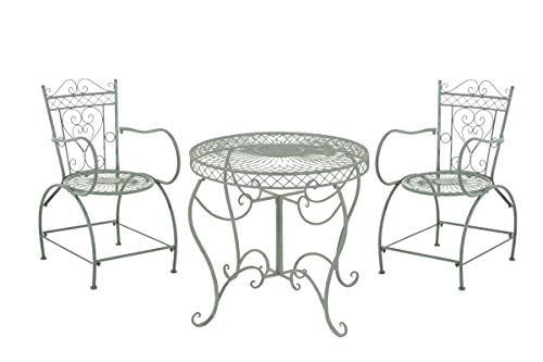 Conjunto de Muebles de Jardín Sheela I Set de 2 Sillas & 1 Mesa de Hierro I Juego de Muebles de Exterior en Estilo Rústico I Color:, Color:Antiguo-Verde ⭐