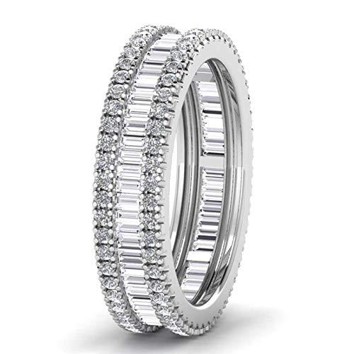 Assay Office London - Anillo de boda con diamantes de corte redondo y baguette...