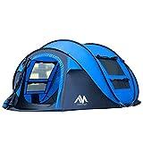 AYAMAYA Camping Zelt 3-4 Personen Pop up Zelte, Outdoor Wurfzelt [2 Türen] Automatische