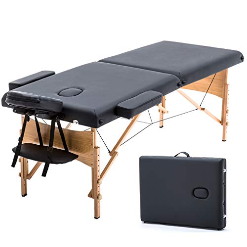 T-LoVendo TLV-MT15B Camilla masaje plegable de madera mesa cama banco 2 zonas...