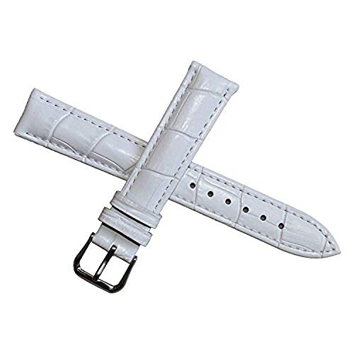 18mm Reloj de Cuero Blanco de reemplazo Banda Acolchada Correa de cocodrilo de Grano Hebilla clásica Pin