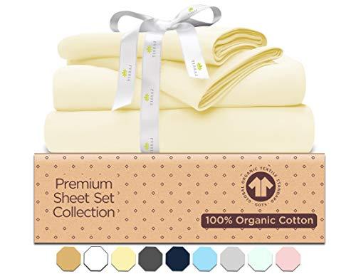 500-Thread-Count Organic Cotton Bed Sheets-Set - 500TC Queen Size Natural - 4 Piece Bedding - 100% GOTS Certified Extra Long Staple, Soft Sateen Weave Finish Bedsheets - Fits 15' Deep Pocket Mattress