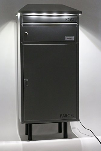 SafePost 95 LED Paketbriefkasten anthrazitgrau mit gesichertem Paketfach Standbriefkasten Briefkasten