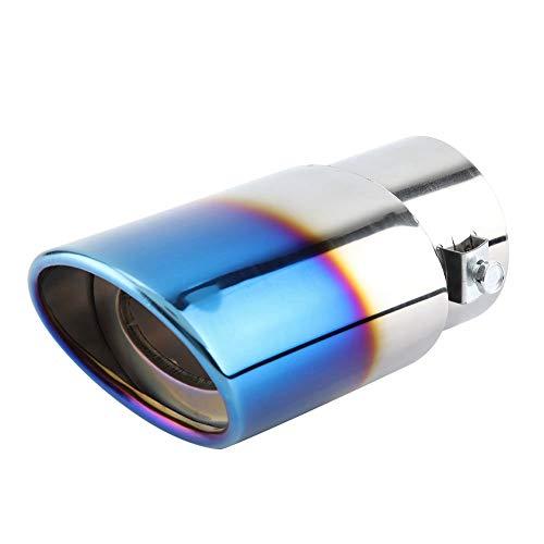 Duokon Acero Inoxidable Automóvil Coche Tubo de Escape Recto Silenciador Trasero Punta Cola Garganta Universal 53-38mm Cromo Azul Color