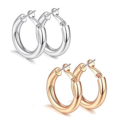 sovesi Chunky Gold Hoop Earring 14K Gold Plated Thick Hoop Earrings for Women Silver25mm/Rose Gold25mm