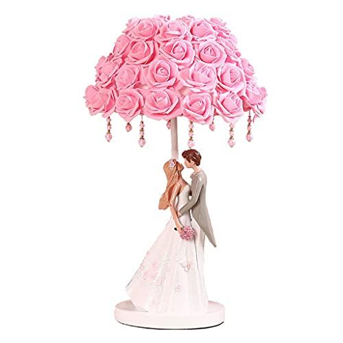 TDJJZHXYP Regalo de Boda Nuevo Regalo de Boda Sala de Boda lámpara lámpara Dormitorio Noche Festiva dote eternasting luz roja (Color : Pink Rose lampshade)