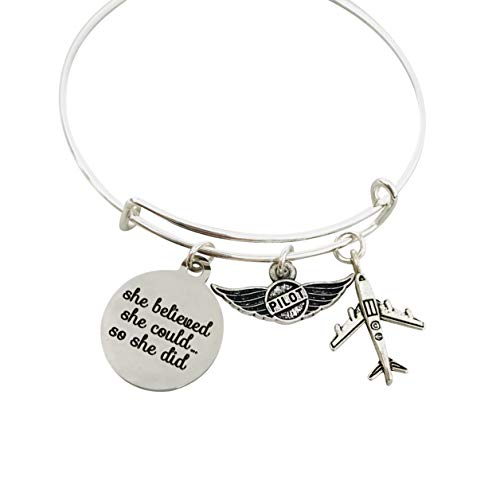 Pilot Gifts for Women Jewelry Bracelet, She believed she could so she did