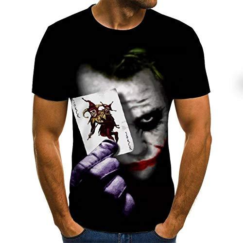 ZIXIYAWEI 3D Gedruckte T-Shirts Für Männer Clown Muster T-Shirt Männer/Frauen Joker Gesicht Gedruckt Terror Mode T-Shirts Cooler Charakter Joker Harajuku Kleidung Hip Hop Tops-XL