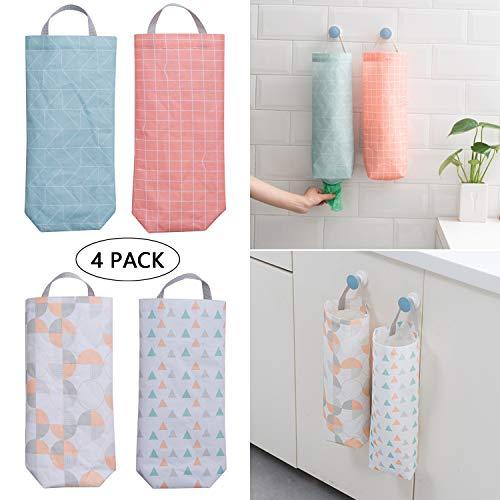 4Pcs Plastic Bag Holder Waterproof Wall Mount Grocery Bag Dispenser Garbage Bag Organizer Plastic Bag Holder And Dispenser