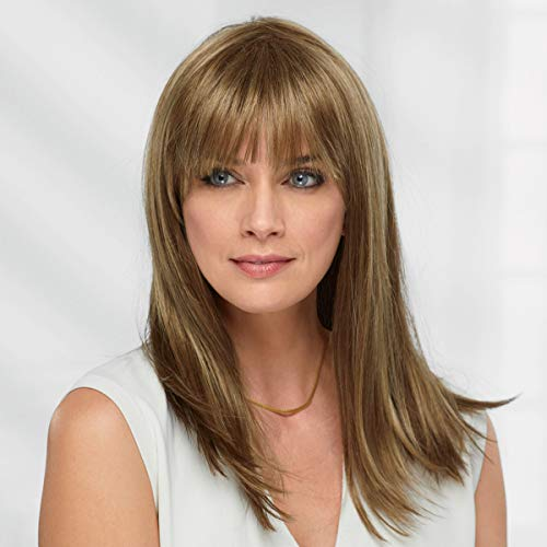 Juno WhisperLite Monofilament Wig by Paula Young - Smooth, Straight Long Wig with Blunt Bangs and Razor-Finished Tips/Multi-tonal Shades of Blonde, Silver, Brown, and Red