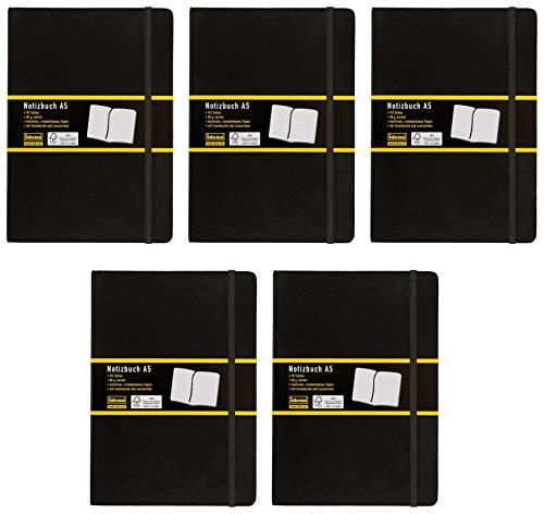 Idena 209281 Notizbuch FSC-Mix, kariert, Papier cremefarben, 96 Blatt, 80 g/m², Hardcover in schwarz (5 Stück, A5)