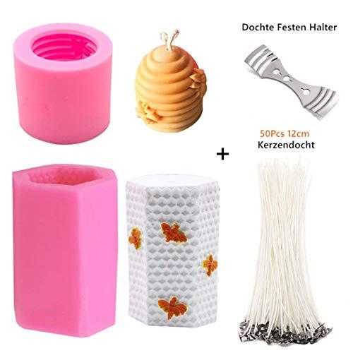 Alumuk DIY Silikon Kerze Formen Bienenwaben Design 3D Silikonform mit 50 Stück Kerzendocht für die Herstellung von Kerzen, Aromasteinen, Schokolade, Seife etc. Utensil für Handwerk, Basteln
