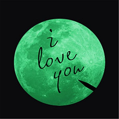 VORCOOL Luna Luminosa Pared Techo Pegatina Fluorescente con Frases I Love You Brillan Oscuridad Dia 34.4cm