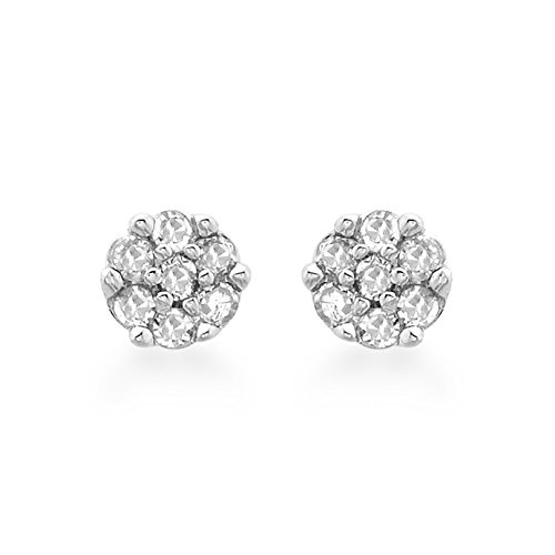 Carissima Gold Women's 9 ct White Gold 0.05 ct Diamond Cluster 3 mm Stud Earrings