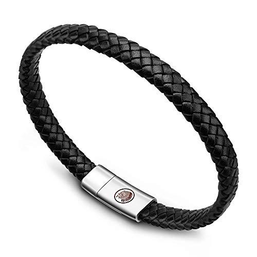 Casisto.J Bracelet homme - bracelet cuir homme manchette tressé à la main classique noir et brun avec fermoir magnétique gravé cadeau bijoux gratuit en boîte (noir, 20)