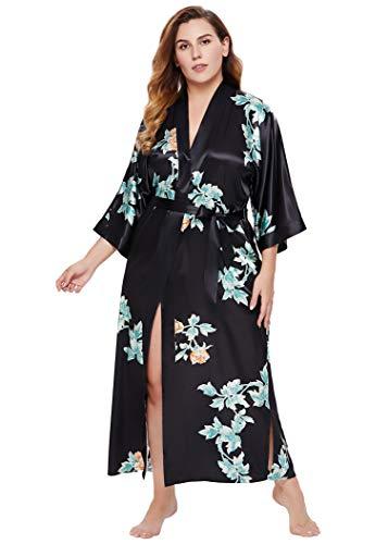 Coucoland Damen Morgenmantel Kimono Große Größen Bademantel Lang Sommer Robe Blumen Muster Leicht Strandkleid Elegant Damen Satin Schlafmantel (Schwarz)