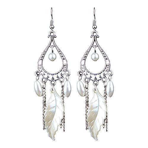 Pendientes de perlas de estilo étnico bohemio de Europa y Estados Unidos