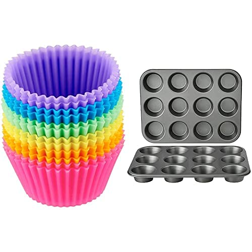 AmazonBasics - Moldes de horneado, reutilizables, de silicona - Pack de 12 + Bandejas para hornear magdalenas, antideslizantes, de acero al carbono, juego de 2