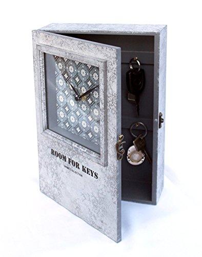 deetjen & meyer Schlüsselkasten mit Uhr 20451 Schlüsselkästchen 30 cm Schlüsselschrank Wanduhr
