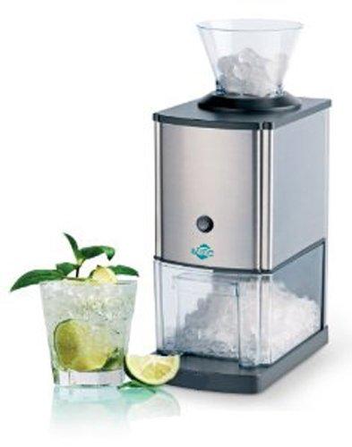 4050 BETEC - Picadora de hielo eléctrico Picadora de hielo • Picahielo • 15 kg / h • Recipiente de 3,5 L (unos 1,75 kg) para el hielo • Embudo de llenado • Interruptor de seguridad • Antideslizante • Plateado
