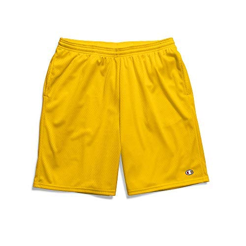 Champion Men's Long Mesh Short with Pockets, team gold, Large