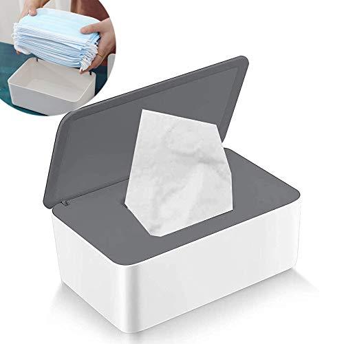 Doos Met Vochtige Doekjes Natte Doekjes Dispenser Box Voor Babydoekjes Stofdichte Tissue Houder Plastic Dispenser Voor Vochtige Doekjes Servetdoos Tissuebox Met Deksel Grijs + Wit Voor Thuis Kantoor
