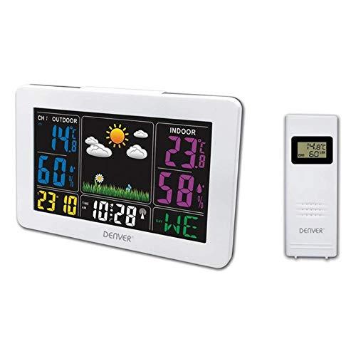 Denver Wetterstation \'WS-540\' mit Außensensor, Alarmfunktion und Farbdisplay, sowie Messung von Temperatur und Luftfeuchtigkeit, weiß