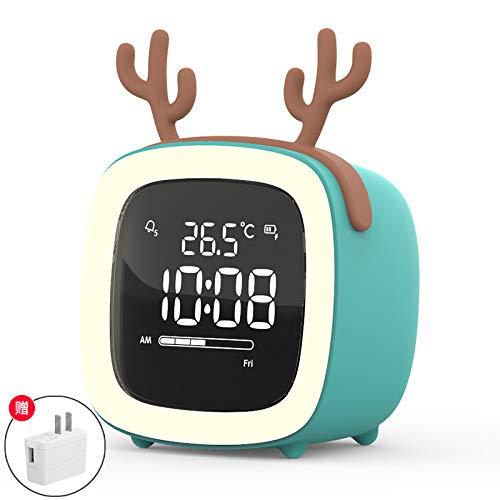 YYLDXW Smart Electrónico Pequeño Despertador Mudo Cama Cabeza Noche Luz Dormitorio Despertador para Niños Turquesa Y Azul 7.9Cm