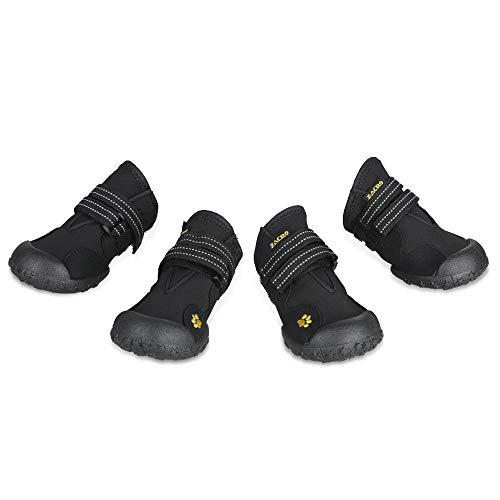 Zacro 4PCS Hundeschutzstiefel Wasserdicht Schuhe mit Wwei Reflektierenden Riemen und Einer Robusten Rutschfesten Sohle für Große, Mittelgroße Hunde, Nr. 5 Schwarz