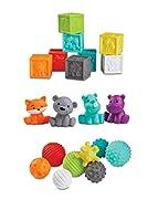 Infantino Sensory Balls Blocks & Buddies - 20 piece basics set for sensory exploration, fine and gro...