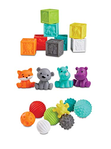 Infantino Sensory Balls Blocks & Buddies - 20 piece basics set for sensory exploration, fine and gross motor skill development and early introduction to colours, counting, sorting and numbers, 0m+