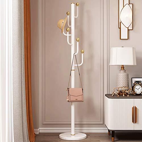 QIFFIY Perchero de mármol con barra de percha simple y moderna para el hogar, dormitorio, abrigo, de lujo, percha de madera (color: blanco)