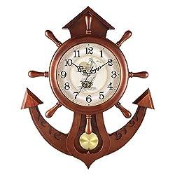 FCZH Wooden Pendulum Clock, Antique Mechanical Wall Clock Classic Quartz Battery Silent Gift Clock, Rudder Design, Vintage Retro Non Ticking Clock,6656cm