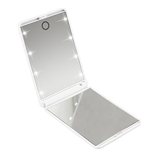Youdepot Makeup Mirror with 8 Enhanced Led Lights, Youdepot 2X Magnifying Compact Mirror - The Best Folding Lighted Mirror