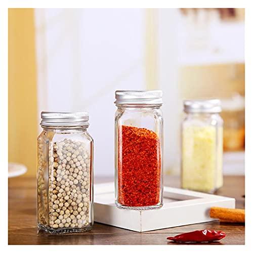 Adecuado para Suministros de Cocina Tarra de Condado Cuadrado Botella de Pimienta Spice Spice Botella de Almacenamiento Barbacoa Conjuntamiento Caja de contenedor con Pegatina (Color : 4 Bottles)