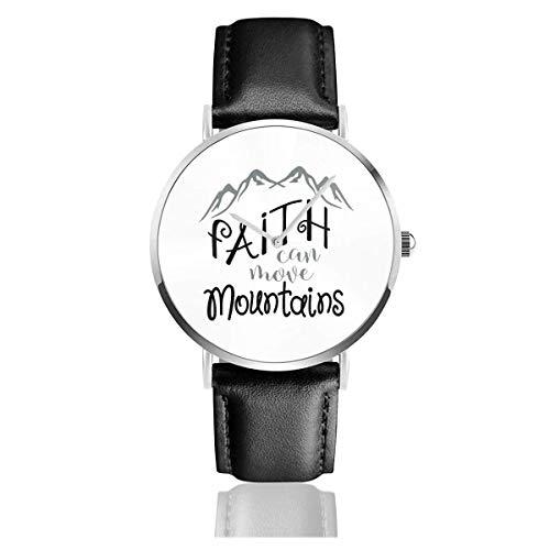 Faith Can Move Mountains Reloj con Correa de Cuero Casual Pulsera de Cuarzo de Acero Inoxidable Correa de Cuero Negro y Esfera Fina