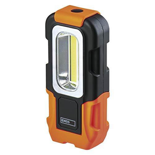 EMOS P3888 COB LED Taschenlampe/Arbeitsleuchte, Werkstattlampe mit 2X Magnet und Haken, Lichtstrom 180 Lumen, min. 20 m Leuchtweite, batteriebetrieben, Magnetfuß