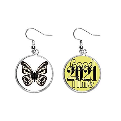 Schmetterling-Exemplar in hellen Ohrringen, Ohranhänger, Schmuck 2021 Viel Glück