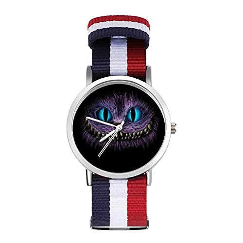 Grinsekatze Uhr Glas Spiegel Skala Geflochtene Gürtel Uhr Casual Geeignet für Büro Schule Männer und Frauen Geschenk