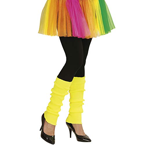 Widmann 05829 - Beinstulpen, neon-gelb, Beinwärmer, 80er Jahre, angenehmer Tragekomfort, Zubehör für Assi Anzug, Bad Taste Party, 80ties, Karneval