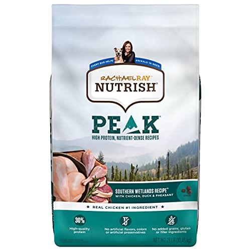 Rachael Ray Nutrish PEAK Natural Dry Dog Food, Southern Wetlands Recipe with Chicken, Duck & Pheasant, 23 Pounds, Grain Free (Packaging May Vary)