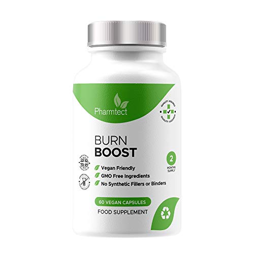 Pharmtect Burn Boost Supplement - Energy Support Formulated by Expert Nutritionist - High Strength Green Tea, L-Carnitine - 60 Vegetarian Capsules