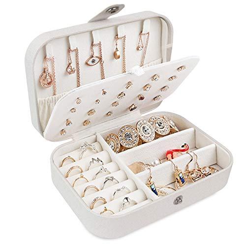 Pequeña Joyero Viaje Decorativas Cajas para Joyas Jewelry Organizer para Mujer para Anillos, Aretes, Pulseras y Collares(Blanco)