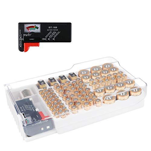 Batterie-Organizer, Batterie-Aufbewahrungskoffer für 93 Batterien unterschiedlicher Größe für AAA-, AA-, 9-V-, Leere Batterien der Größen C und D mit abnehmbarem Batterietester von Makerfire