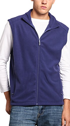 Oalka Men's Full Zip Soft Sport Fleece Vests Blue L