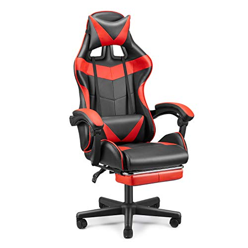 FERGHANA Office Chair,Gaming Chair,E-Sports Chair,PC Computer Chair,Racing Style Racing Chair with Hight Adjustment,Lumbar Support,Headrest,Retractable Footrest-Magma Red