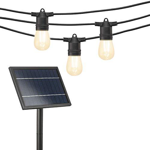 Mr Beams S14 Bulb Solar LED Weatherproof Outdoor String Lights, 54 feet, Black