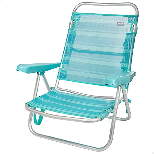 Aktive 53962 - Silla multiposición, Silla de playa plegable, 5 posiciones, 61x43x82 cm, altura del asiento 21 cm, estructura reforzada, color turquesa, con asa de transporte, Aktive Beach