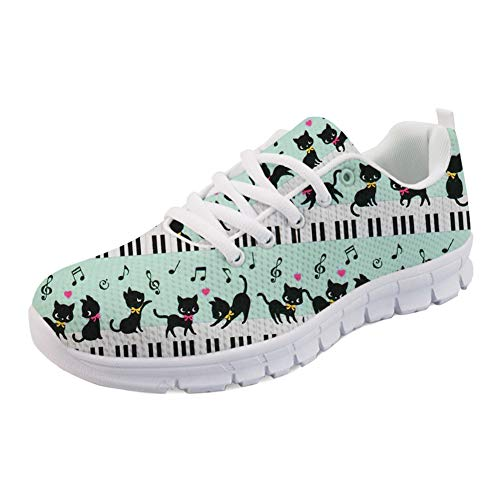 HUGS IDEA Women's Cute Sneakers Mesh Breathable Lace-Up Running Sports Shoe Walking Jogging Musical Kittens Piano Printed Athletic Shoes